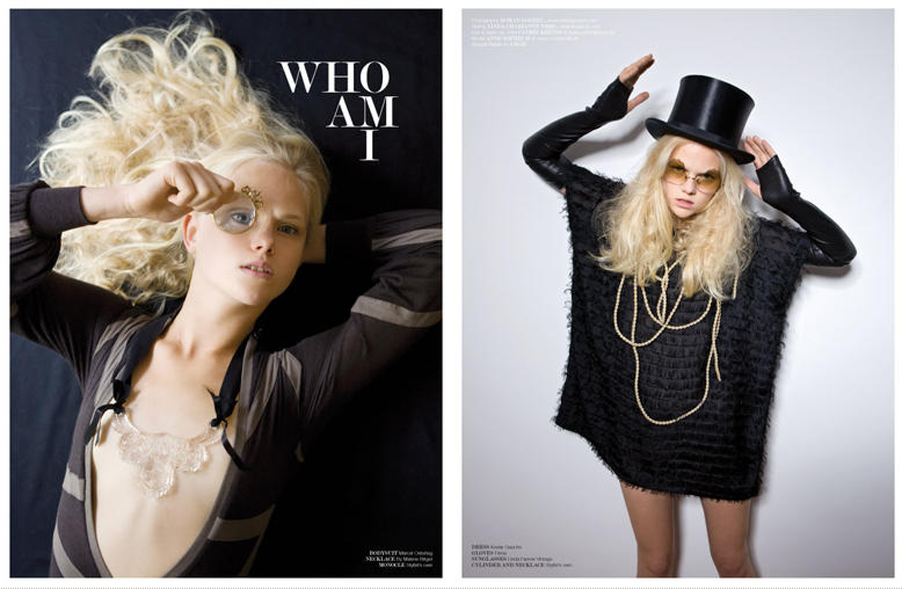 "J'N'C Magazine 2009/4, pg. 100.-101. ""Who I Am?"" – Photo: Christoph Voy; Model: Anne Sophie M"